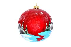 Christmas jewelry for a New Year tree. Christmas jewelry and toys - a ball for a New Year tree, a glade in the winter wood, a place for the text, isolated on a Royalty Free Stock Photos