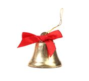 Christmas Jindle Bell and red bow Stock Photos