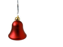 Christmas jingle-bell. One red Christmas jingle-bells isolated on white Royalty Free Stock Images