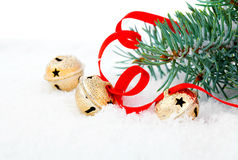 Christmas jingle bell with red ribbon Stock Image