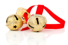 Christmas jingle bell with red ribbon Royalty Free Stock Photos