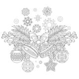 Christmas jingle bells and ornaments. Coloring page with Christmas decorations. Fir tree, jingle bells, christmas balls, vintage snowflakes. Freehand sketch Stock Photo