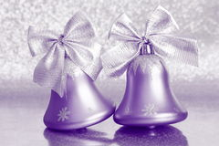 Christmas Jingle Bells - Stock Photos. Christmas Jingle Bells : Silver Ornaments on Blurred Background Royalty Free Stock Photography