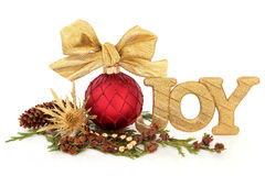 Christmas Joy. Glitter sign with red sparkling bauble and bow, gold thistle flower head, bead strand, cedar leaf sprigs and pine cones over white background Stock Photos