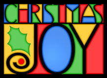 Christmas Joy. Colorful, stained glass type illustration of the sentiment Christmas Joy...the O in Joy could be used as a frame for a photo Royalty Free Stock Images