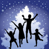 Christmas joy. Illustration of four children jumping for joy, white Christmas tree in the background Stock Images