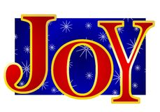 Christmas Joy Banner. A clip art illustration of the word 'Joy' in large colorful letters set against snowflake background Royalty Free Stock Images