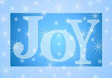 Christmas Joy Banner in Blue. A clip art illustration of the word 'Joy' in large blue letters set against snowflake background Stock Image