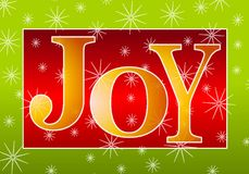 Christmas Joy Banner Gold Red. A clip art illustration of the word 'Joy' in large colorful letters set against snowflake background in green, gold and red Royalty Free Stock Photography