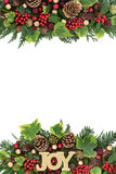 Christmas Joy Decorative Border. Christmas decorative border with joy glitter sign, red and gold bauble decorations, holly, ivy, pine cones and fir leaf sprigs Stock Image