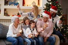 Christmas joy in the  family Royalty Free Stock Images