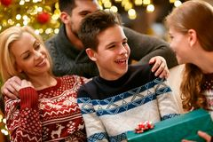 Christmas joy for holidays. Family together at home Royalty Free Stock Photo
