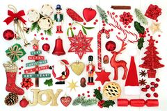 Christmas Joy Sign and  Bauble Decorations Stock Images