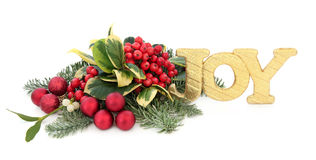 Christmas Joy. Sign decoration with holly, red baubles, mistletoe, ivy, fir and cedar leaf sprigs over white background Stock Photos