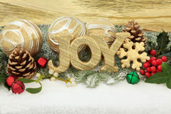 Christmas Joy. Sign with gold bauble decorations, holly and winter greenery over snow background Royalty Free Stock Image