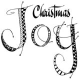 Christmas Joy word art. Black and white Christmas Joy word art Stock Photo