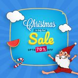 Christmas in July fest, sale banner, poster or flyer design with. Happy Santa Claus, watermelon slice, clouds on blue background. Upto 70% off offers Stock Photo