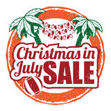 Christmas in July grunge rubber stamp on white background. Stock Photography