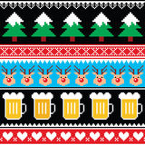 Christmas jumper or sweater seamless pattern with beer, reindeer and trees Royalty Free Stock Image