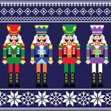 Christmas jumper or sweater seamless pattern with nutcrackers Stock Photo