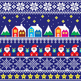 Christmas jumper or sweater seamless pattern with Santa and houses Royalty Free Stock Photos
