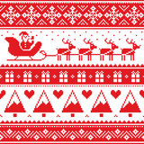 Christmas jumper or sweater seamless red pattern with Santa and reindeer Royalty Free Stock Images