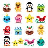 Christmas Kawaii icons - Christmas pudding, penguin, gingerbread man Stock Images