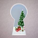 Christmas keyhole Stock Image