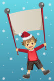 Christmas kid. A vector illustration of a Christmas kid holding a banner Stock Images