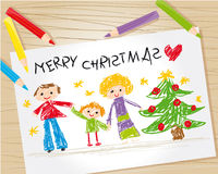 Christmas kid drawing. A kid drawing of happy family and christmas tree