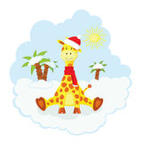 Christmas kid giraffe Stock Images