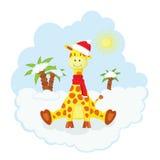 Christmas kid giraffe Stock Images