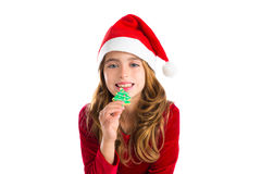 Christmas kid girl Xmas tree cookie isolated on white Royalty Free Stock Photo
