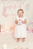 Christmas Kid Opening Present Gift Box, Child Girl Celebrating Xmas Royalty Free Stock Image