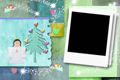 Christmas kid photo frame card Stock Images