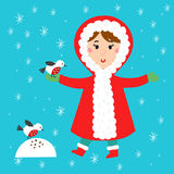 Christmas kid playing winter games children playing snowballs cartoon new year winter holidays vector characters Stock Photos