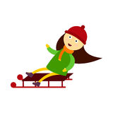 Christmas kid playing winter games sledding girl playing cartoon new year holiday traditional vector character Stock Images
