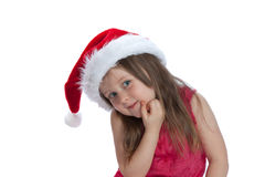 Christmas kid in Santa hat Stock Images