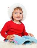 Christmas kid in Santa hat Stock Photography