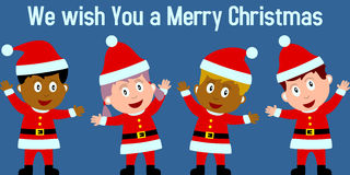 Christmas Kids. Group of four happy kids dressed as Santa Claus wishing you a Merry Christmas royalty free illustration