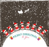 Christmas kids background children in circle winter. Merry christmas background and greeting card design stock illustration