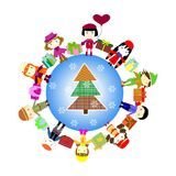 Christmas kids background. Children in planet Royalty Free Stock Photography