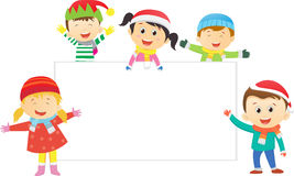 Christmas kids with blank sign Stock Image