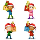 Christmas Kids With Gifts 2 vector illustration