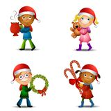 Christmas Kids With Gifts. An illustration featuring your choice of 4 kids dressed in Christmas wear holding various items - hot cocoa, teddy bear, wreath and Royalty Free Stock Photos