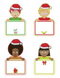 Christmas kids holding signs. Children holding blank christmas signs ready for text Royalty Free Stock Photography
