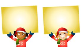 Christmas Kids Holding Signs 2 Stock Image