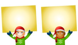 Christmas Kids Holding Signs Royalty Free Stock Image