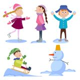 Christmas kids playing winter games cartoon new year winter holiday background vector illustration. Stock Photos