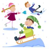 Christmas kids playing winter games cartoon new year winter holiday background vector illustration. Royalty Free Stock Image